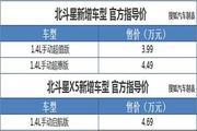 北斗星/北斗星X5新车型上市 售价3.99万起