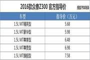 售5.68-7.58万元 2016款众泰Z300正式上市