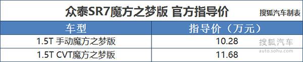 众泰SR7魔方之梦版上市 售10.28万起