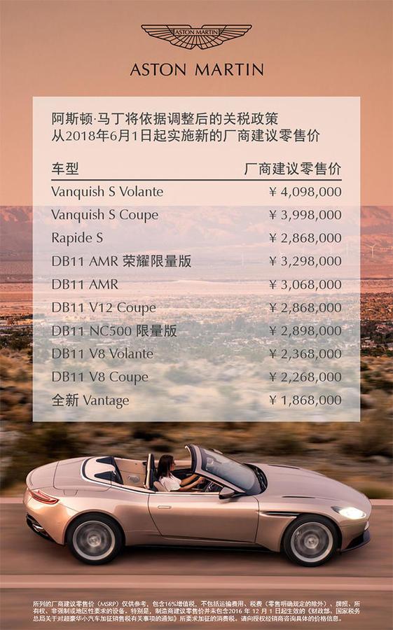 最高降幅达77.7万元 阿斯顿·马丁部分车型售价调整