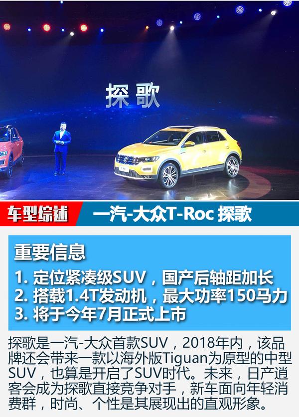 一汽-大众T-Roc中文名为探歌
