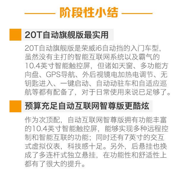 首推20T自动旗舰版 上汽荣威i6购车手册