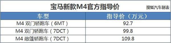 宝马新款M4正式上市 售价92.70-109.80万元