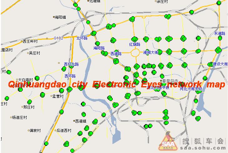 秦皇岛市交通电子眼分布图片,大家开车注意点