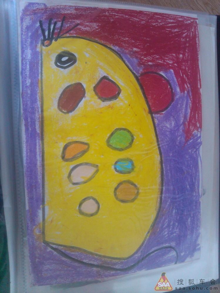2,彩笔画:豌豆汽车